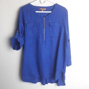 Ellen Tracy linen tunic 3/4 sleeves gold details